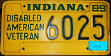 "Indiana State License Plate "" Disabled American Veteran"" Dark Green Letters On Yellow Backround"