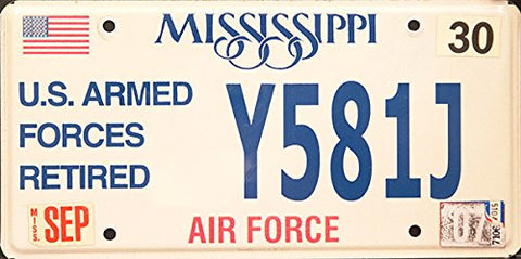 Mississippi State License Plate Us Armed Forces Retired Air Force Blue Letters on White