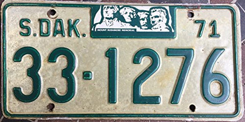 South Dakota State License Plate 71 Green Letters