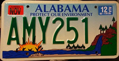"Alabama State License Plate "" Protect Our Environment"" With Forest And Lake Backround"