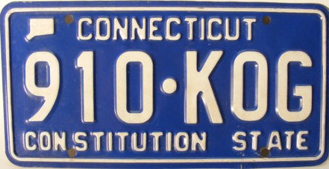 Connecticut License Plate White letters with Blue Background