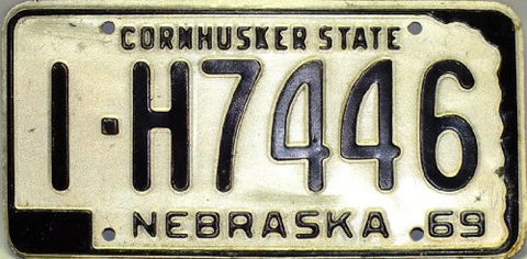 Nebraska 69 Cornhusker State License Plate black numbers on white