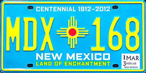New Mexico Centennial 1912-2012 State License Plate yellow numbers on blue with Indian symbol