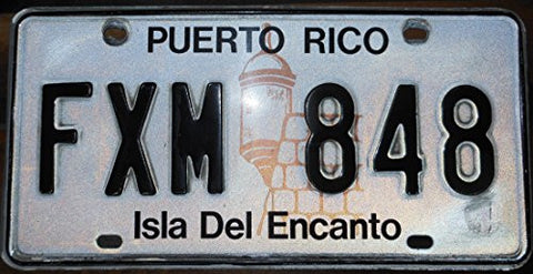 "Puerto Rico License Plate Black Letters on White Backround with Lighthouse "" Isla Del Encanto"""