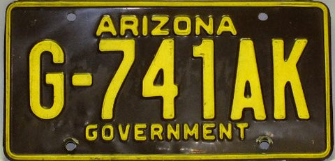 Arizona Government License Plate Yellow numbers on black