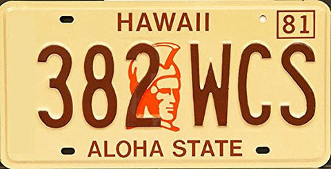 Hawaii Aloha State King Kamehameha License Plate Brown Numbers on Cream with Orange Emblem of King