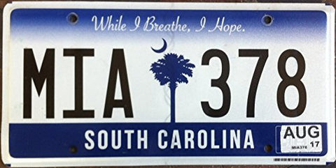 South Carolina State License Plate