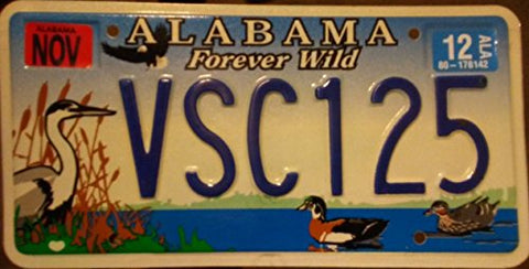 "Alabama State License Plate "" Forever Wild"" With Duck's And White Heron Backround"