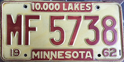 Minnesota State License Plate 62 Brown