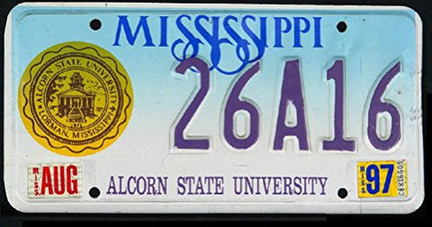 Mississippi State License Plate Alcorn State University Gold Logo Blue Letters on Light Blue and White