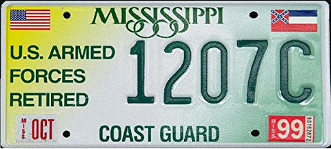 Mississippi State License Plate Us Armed Forces Coast Guard with Green Letters on White