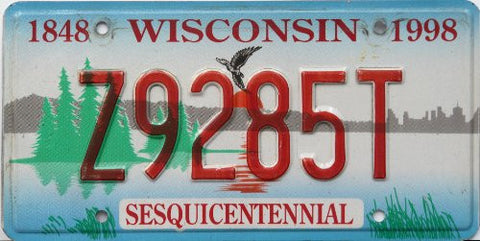 Wisconsin Sesquicentennial License Plate red numbers on lake with pine trees and bird