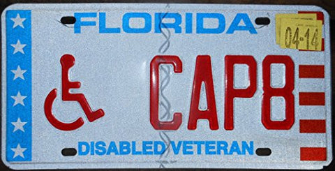 "Florida State License Plate "" Disabled Veteran"" with Red Letters on White Backround Stars and Stripes"