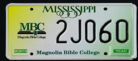 Mississippi State License Plate with Magnolia Bible College Logo and Black Letters on Yellow White and Green