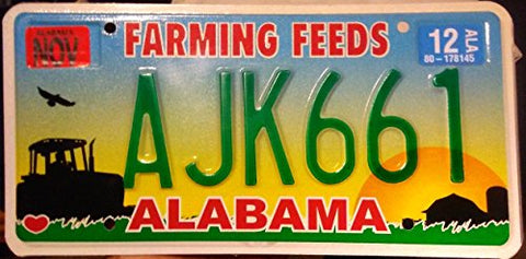 "Alabama State License Plate "" Farming Seeds"" Green Letters On Sunset Backround"