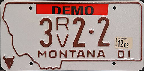 Montana State License Plate Brown Letters on White
