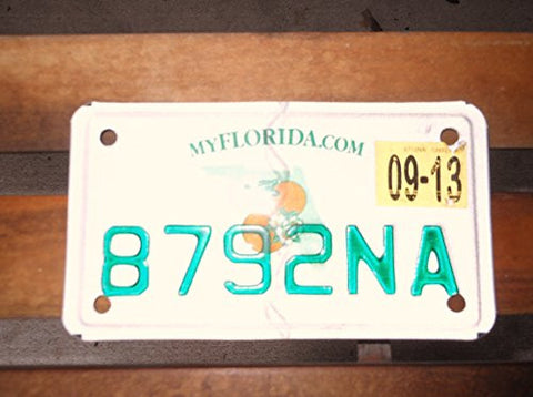 Florida State Motorcycle License Plate Green Letters on White with Fl Map and Oranges