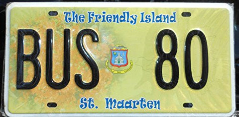 St. Maarten License Plate Black Letters on Green Backround with Hologram Rose Picture