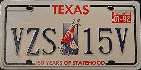 Texas State License Plate 150 Years of Brotherhood, Blue Letters on White with Shooting Star Logo