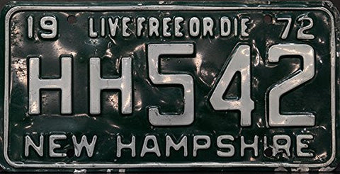 New Hampshire State License Plate White Letters on Green Live Free or Die