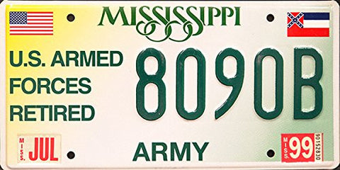 Mississippi Army State License Plate Us Armed Forces Retired