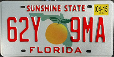 Florida License Plate Prototype Red Letters On Map With Single Orange