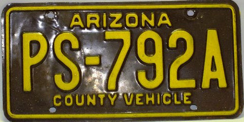 "Arizonia County Vehicle"" License Plate with Yellow Letters"""