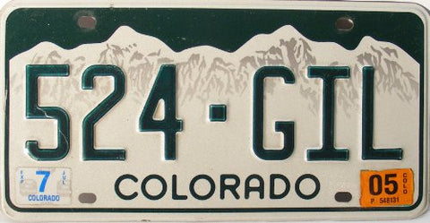 Colorado License Plate Green numbers on White Mountain