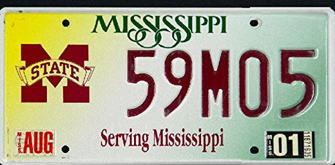 Mississippi State University License Plate Red Letters on White Serving Mississippi