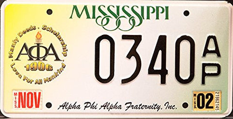 "Mississippi State License Plate ""Alpha Phi Alpha Fraternity"" Logo Black Letters on Yellow White Green"