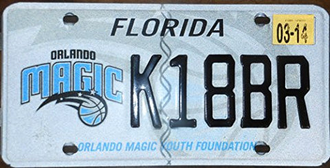 "Florida State License Plate ""Orlando Magic"" Black Letters on Gray White Backround"