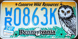 "Pennsylvania State License Plate "" Conserve Wild Resources"" Blue Letters on Yellow Backround and Owl"