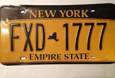 New York Empire State License Plate black numbers on yellow backround