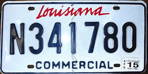 Louisiana State License Plate Commerical with Blue Number on White Backround