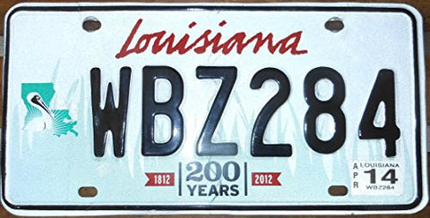 Louisiana State License Plate Bicentennial 1812-2012 Black Letters on White with Light Green