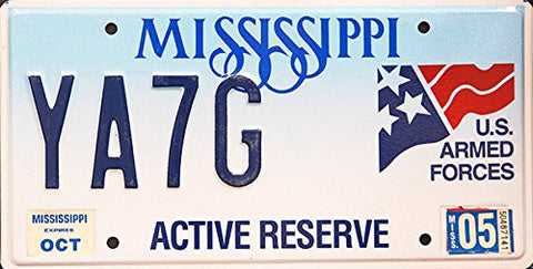 Mississippi State License Plate Us Armed Forces Active Reserve Blue Letters on Light Blue Backround