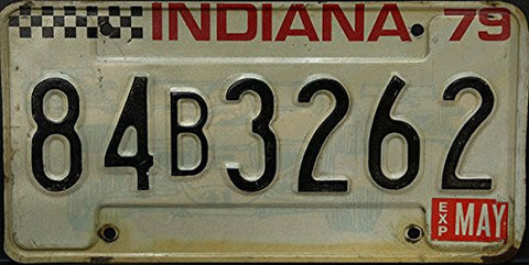 Indiana State License Plate Black Letters on Creme and Race car Backround 1979