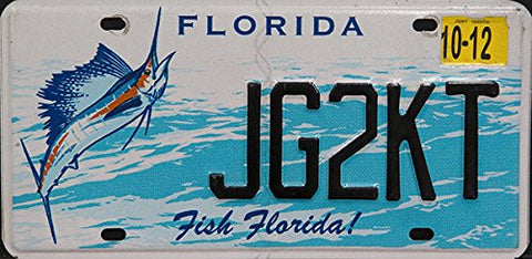 Florida Fish Florida license plate black numbers on blue white ocean with Swordfish