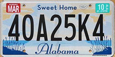 Sweet Home Alabama License Plate flat non-embossed black numbers on white