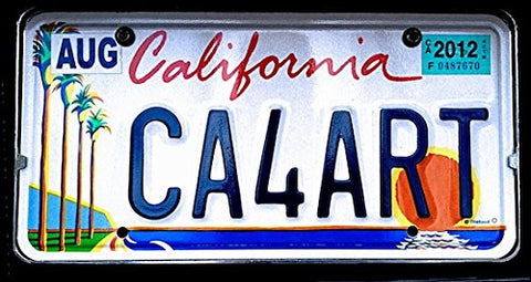 California State License Plate with Blue Letters on White and Orange Sun and Palm Trees