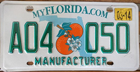 "Florida State License Plate ""Manufacturer"" with Green Letters on White Backround and Double Oranges on Map"