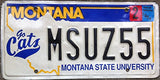 "Montana State License Plate"" State University Go Cats' Embossed"