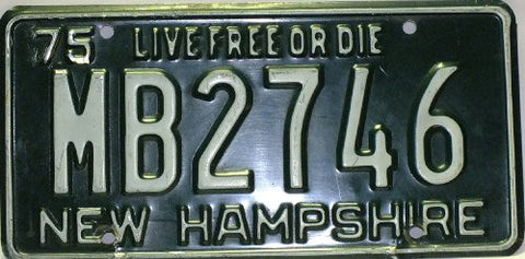 New Hampshire License Plate Live Free or Die, 1975