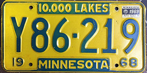 Minnesota State License Plate 68 Yellow