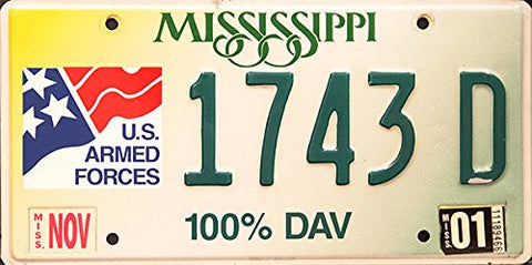 Mississippi State License Plate Us Armed Forces 100% Dav Green Letters on Yellow White Green