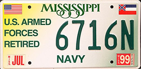 Mississippi State License Plate Us Armed Forces Navy with Green Letters on White