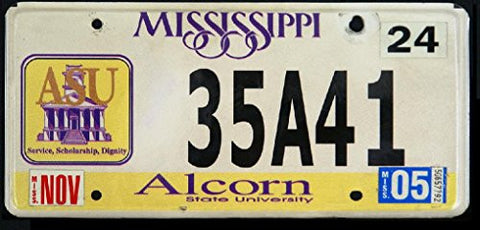 Mississippi State License Plate Alcorn State University Black Letters on White with Purple and Yellow A.s.u Logo