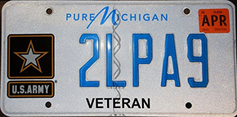 Michigan Veteran State License Plate with Blue Letters on White and U.s Army Logo