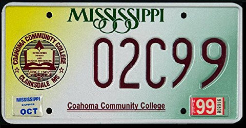 Mississippi State License Plate Coahoma Community College Dark Red Letters on Yellow White and Green