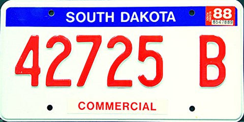South Dakota State License Plate Red Letters on White with Blue Trim Commerical